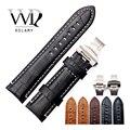 Ремешок для часов Rolamy 22  24 мм  кожаный винтажный черный  коричневый  из натуральной кожи крокодила  ремешок с толстой застежкой для часов