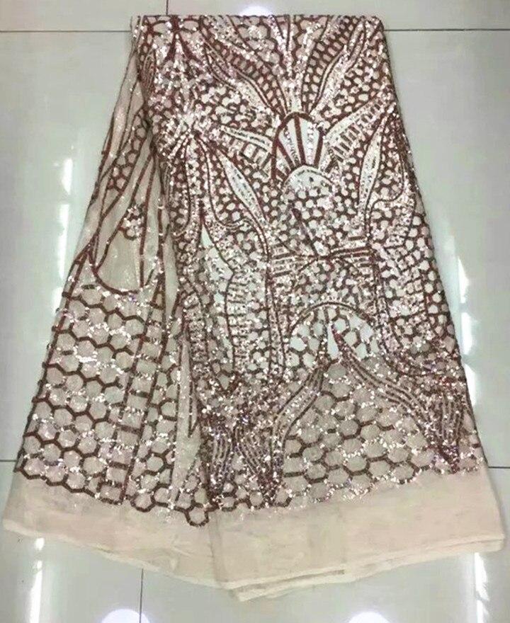 Nouvelle mode africaine maille dentelle robe de soirée avec paillettes modèle français net dentelle tissu pour vêtements QN44, 5 yards/pc - 2