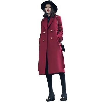 Women Autumn Winter New Cassic Simple Woolen Maxi Long Coat Female Vintage Wide Lapel Belt Pocket Wool Blend Coat Outerwear V179