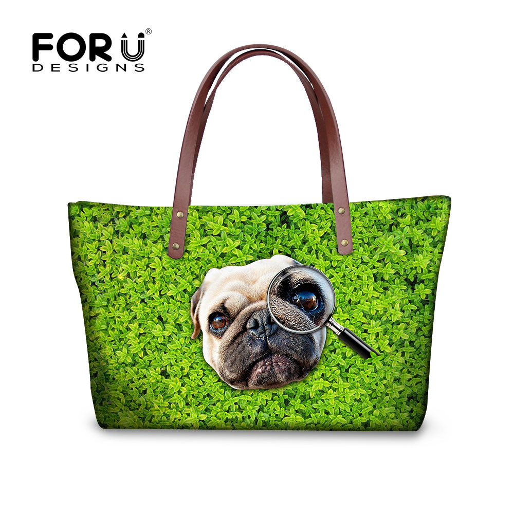 ФОТО Cute 3D Pug Dog Women Handbag Top Quality Lady Top Handles Shoulder Bag Funny Animal Bolsas Feminina Casual Tote Famous Brands
