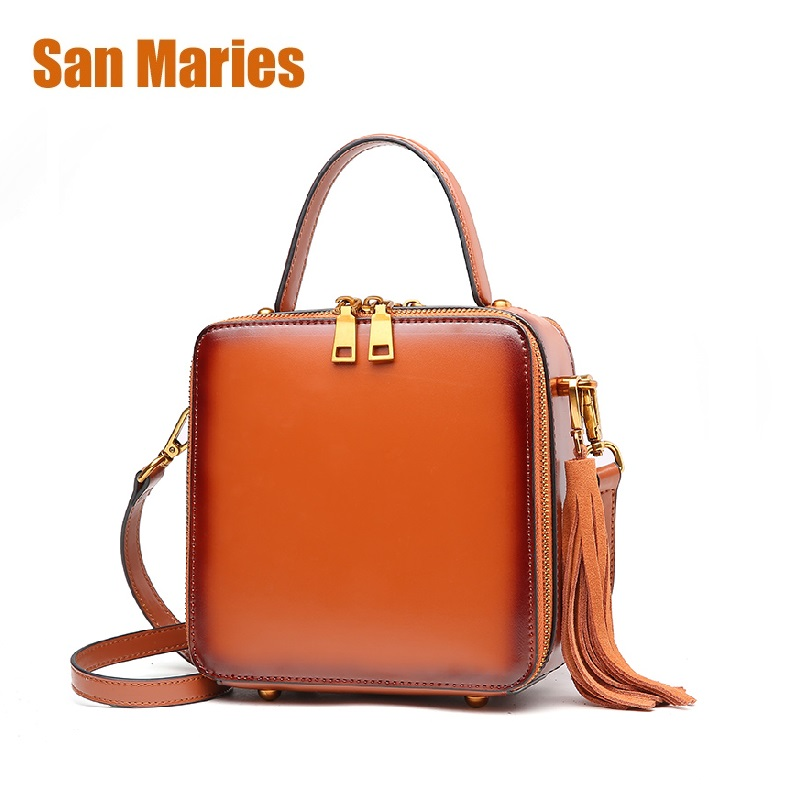 San Maries Everyday Use Cowhide Female Tassel HOBO Women Genuine Leather Shoulder Bag Top Layer Leather Messenger Crossbody Bags popular tassel fashion style first layer cowhide womens bucket bag genuine leather shoulder messenger composite bags 2 straps