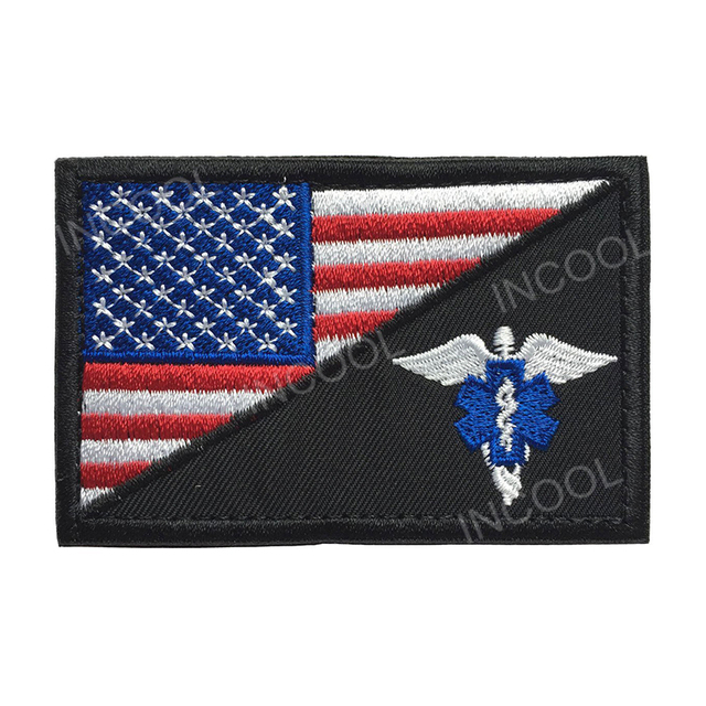 Embroidery Patch American Flag w/Paramedic Medic Seals Tactical Morale EMT EMS Patch Hook & Loop Appliques Embroidered Badges