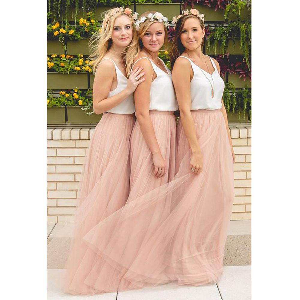 2019 Ready Long Bridesmaid Dresses Promotion Maid of Honor Wedding Party Dress Tulle V-Neck Draped Bridesmaid Dress for women