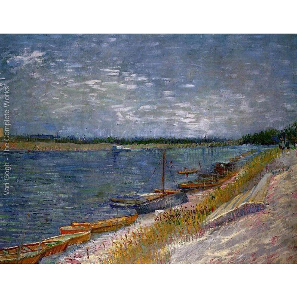 High quality Vincent Van Gogh paintings for sale View Of A River With Rowing Boats Canvas art hand-painted
