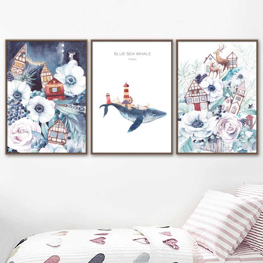 Cartoon Whale Deer Flower Wall Art Canvas Painting Nordic Posters And Prints Watercolor Wall Pictures Baby Kids Room Home Decor