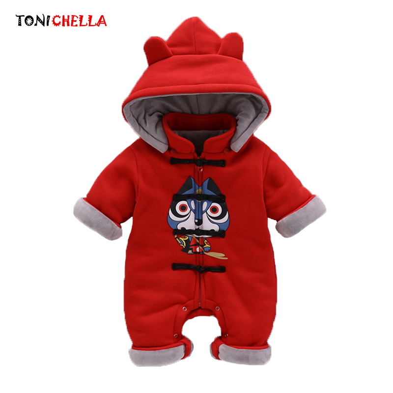 Baby Cotton Rompers Climbing Clothes Hooded Children Kids Open Crotch Thick Winter Boys Girls Clothing Infant Jumpsuit CL5088 cotton baby rompers set newborn clothes baby clothing boys girls cartoon jumpsuits long sleeve overalls coveralls autumn winter