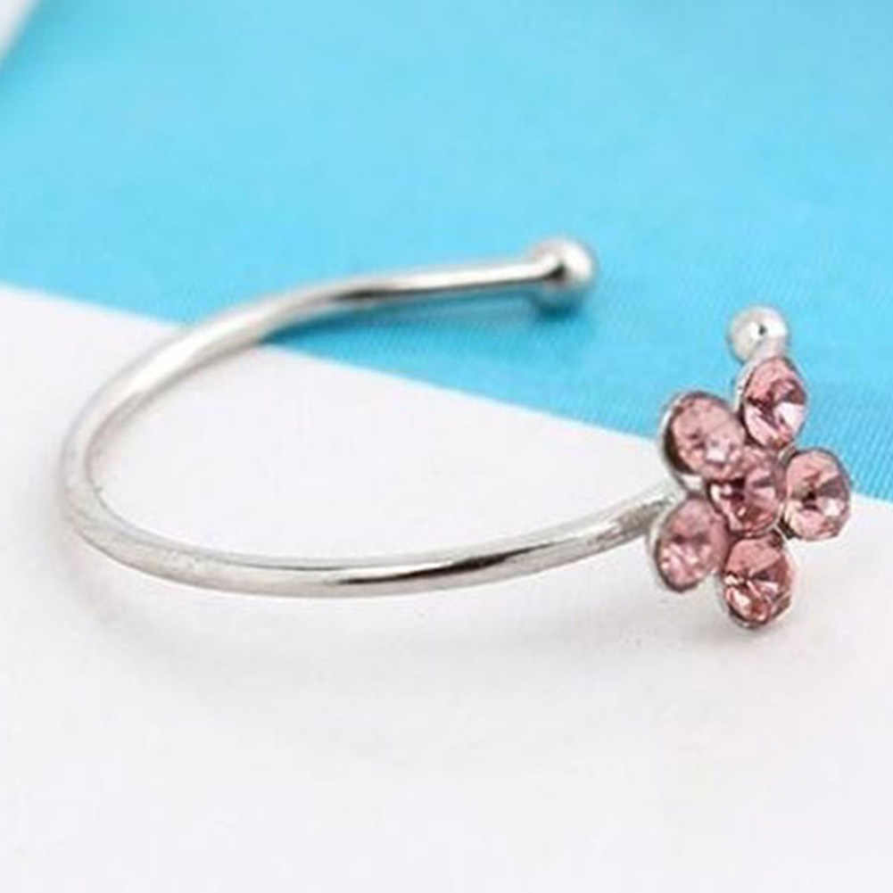 Piercing para la nariz con forma de flor incrustada de diamantes de imitación a la moda para mujer, joyería nueva