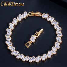 CWWZircons High Quality Cubic Zirconia Stone Yellow Gold Color Fashion CZ Women Wedding Bracelet Jewelry For Bridesmaids CB144