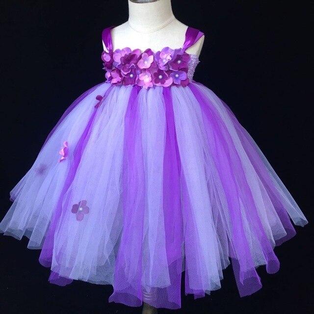 e5a42b36b2225 Filles fleur pourpre Tutu robe bébé moelleux Crochet Tulle robe robe de bal  avec bandeau enfants