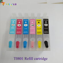 Empty Refillable Ink Cartridge For Epson T0801 - 6 Stylus P50 RX660 R265 R360 RX560 R285 RX585 RX685 PX700 PX710 PX810