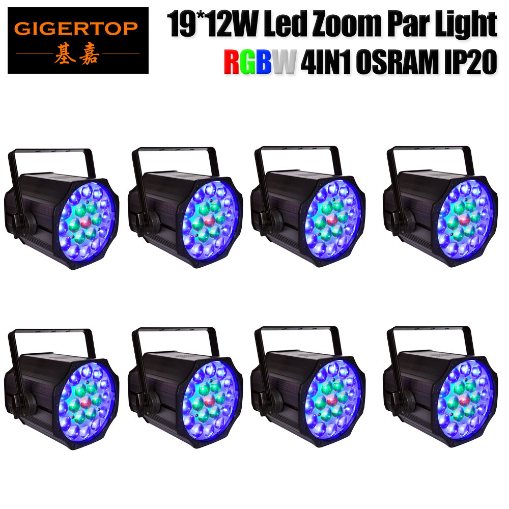 <font><b>8</b></font> Pack 19x12W RGBW DMX Zoom Stage Par Light Electronic Dimming Flicker Free Operation for TV/FILM 5 Pin XLR DMX Optional TP-P84
