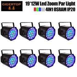 8 Pack 19x12W RGBW DMX Zoom sceniczny reflektor Par elektroniczne przyciemnianie migotanie bezpłatna obsługa dla TV/FILM 5 Pin XLR DMX opcjonalnie TP-P84