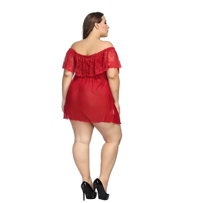 6xl plus size mulheres rendas nightdress senhoras sexy sleepwear babydolls pijamas lingerie femme casa terno