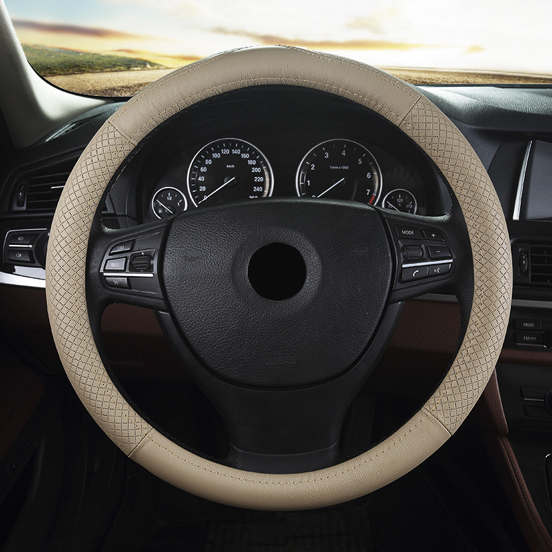 Leather Steering Wheel Cover in Black Beige Grey Ssangyong Rexton Actyon Rodius