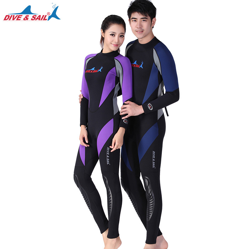 DIVE SAIL 1 5MM Neoprene Long Sleeved One piece Wetsuit Couples Full Body Diving Suit Men