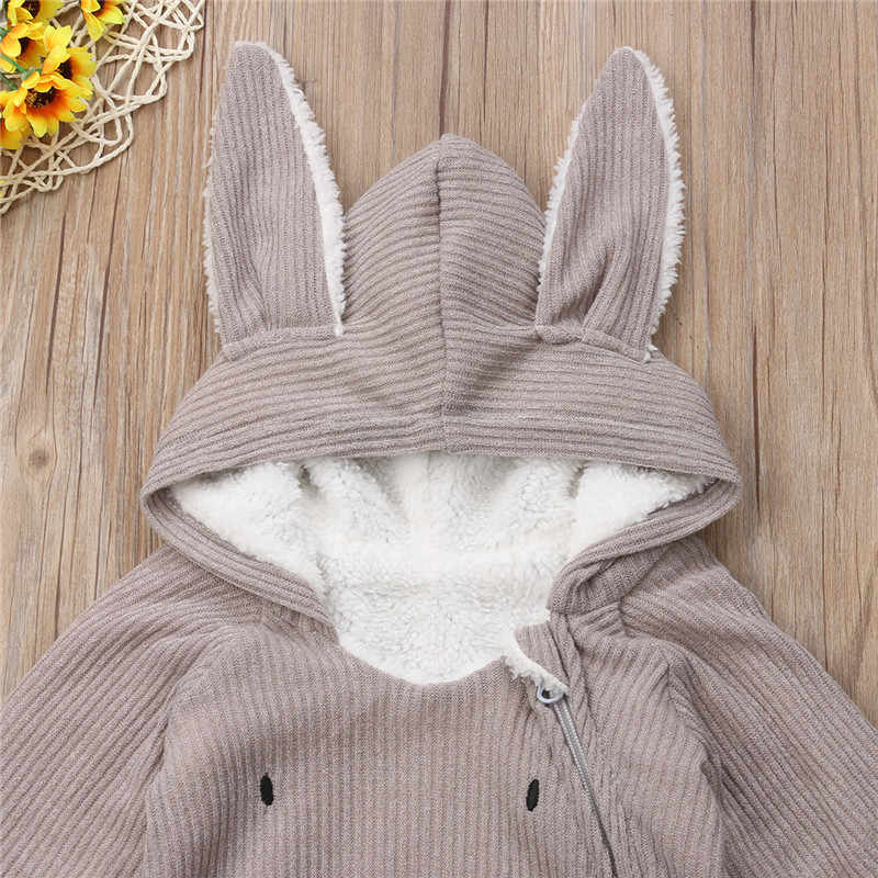 6b0f3a0be287e Fashion Cute Winter Warm Toddler Baby Boys Girls Bunny Ears Hooded Romper  Jumpsuit Outfits Set Costume Sweet Rabbit Clothes