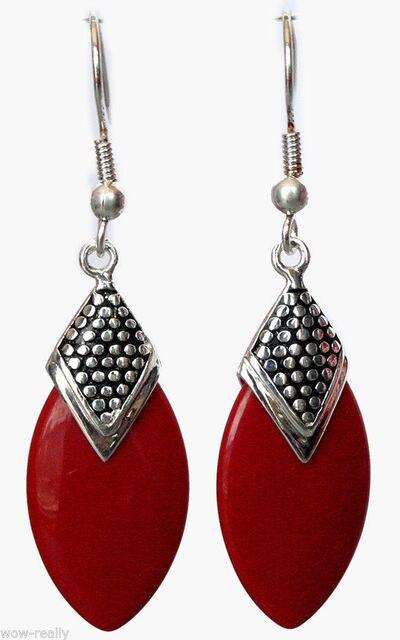 БЕСПЛАТНАЯ ДОСТАВКА>>> Потрясающие Red Coral Бисера Стерлингового Серебра 925 Серьги с Крюком