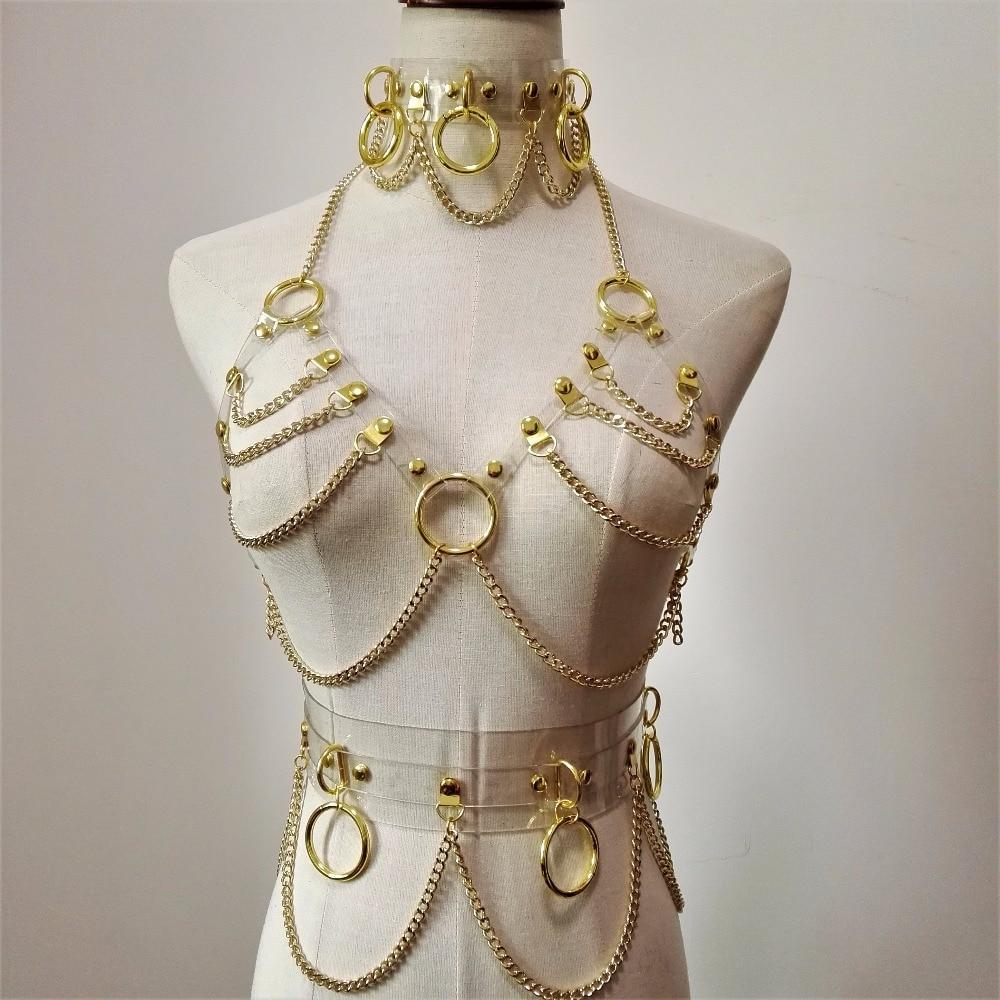 new Fashion Sexy Harajuku Handmade Choker harness punk Collar belt Necklace Spikes and Chain torques club party two layersfashion chokerfashion necklacenecklace fashion -