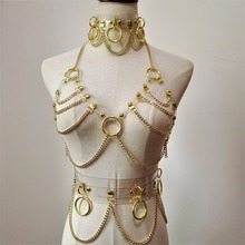 new Fashion Sexy Harajuku Handmade Choker harness punk Collar belt Necklace Spikes and Chain torques club party two layers