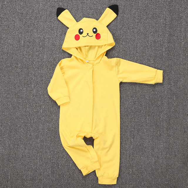 91fb4e6c6a66 Spring Long Sleeve Baby Romper Jumpsuit Embroidery Hooded Pikachu Outfit  Newborn Baby Carnival Cosplay Costume