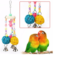 1 pcs Small and medium Pets Parrot Bird Swing Rattan Loofah Biting Toys With bells Supplies Cage Accessories