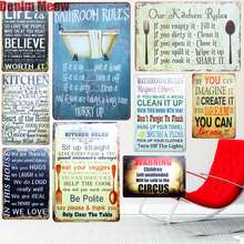 OUR KITCHEN RULES Shabby Chic Metal Signs Bar Pub Restaurant Home Decor ART Wall Stickers Vintage Painting Plaque N090