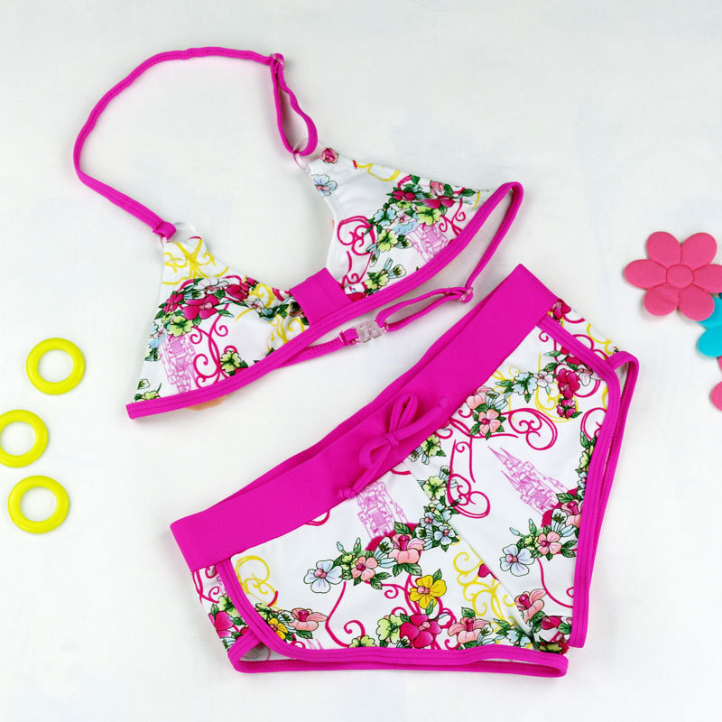 Girls Bikini Set Biquini Infantil New Summer Kid Lovely Two Pieces Bathing Suit Girl Swimsuit Cute Flower Pattern Split Bikini