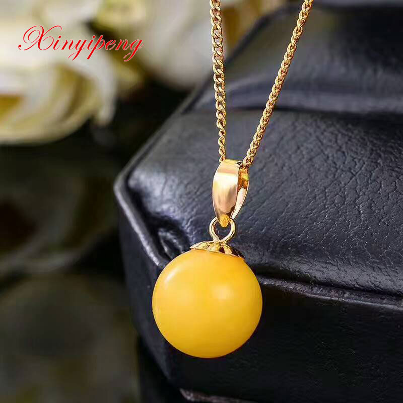 Xinyipeng 18 k yellow gold inlaid natural amber pendant Yellow beeswax simple ms fine jewelry pendants 10 mmXinyipeng 18 k yellow gold inlaid natural amber pendant Yellow beeswax simple ms fine jewelry pendants 10 mm
