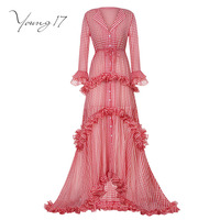 Young17 maxi dress red button ruffles mermaid long sleeve women elegant beauty party fall women 2017 new maxi womenl dresses