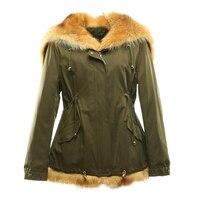 Женские зимние парки пальто куртка енот меховой воротник съемный мех кролика подкладка с капюшоном зеленый цвет ткани 17022