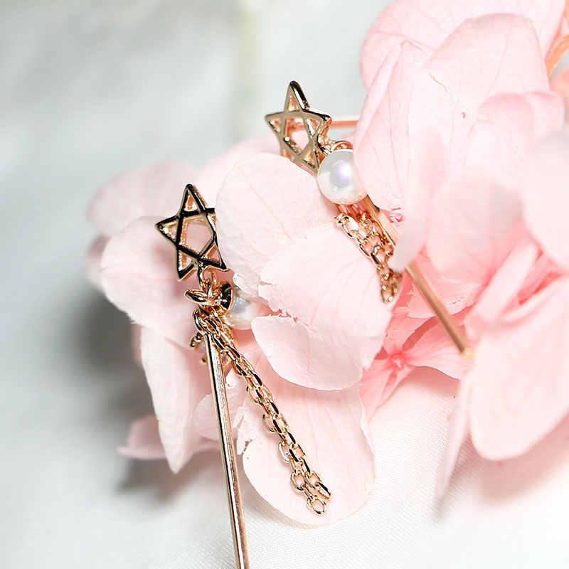 925 orecchini in argento sterling per le donne originale dolce stella orecchini di perle in oro rosa temperamento orecchini lunghi femminile