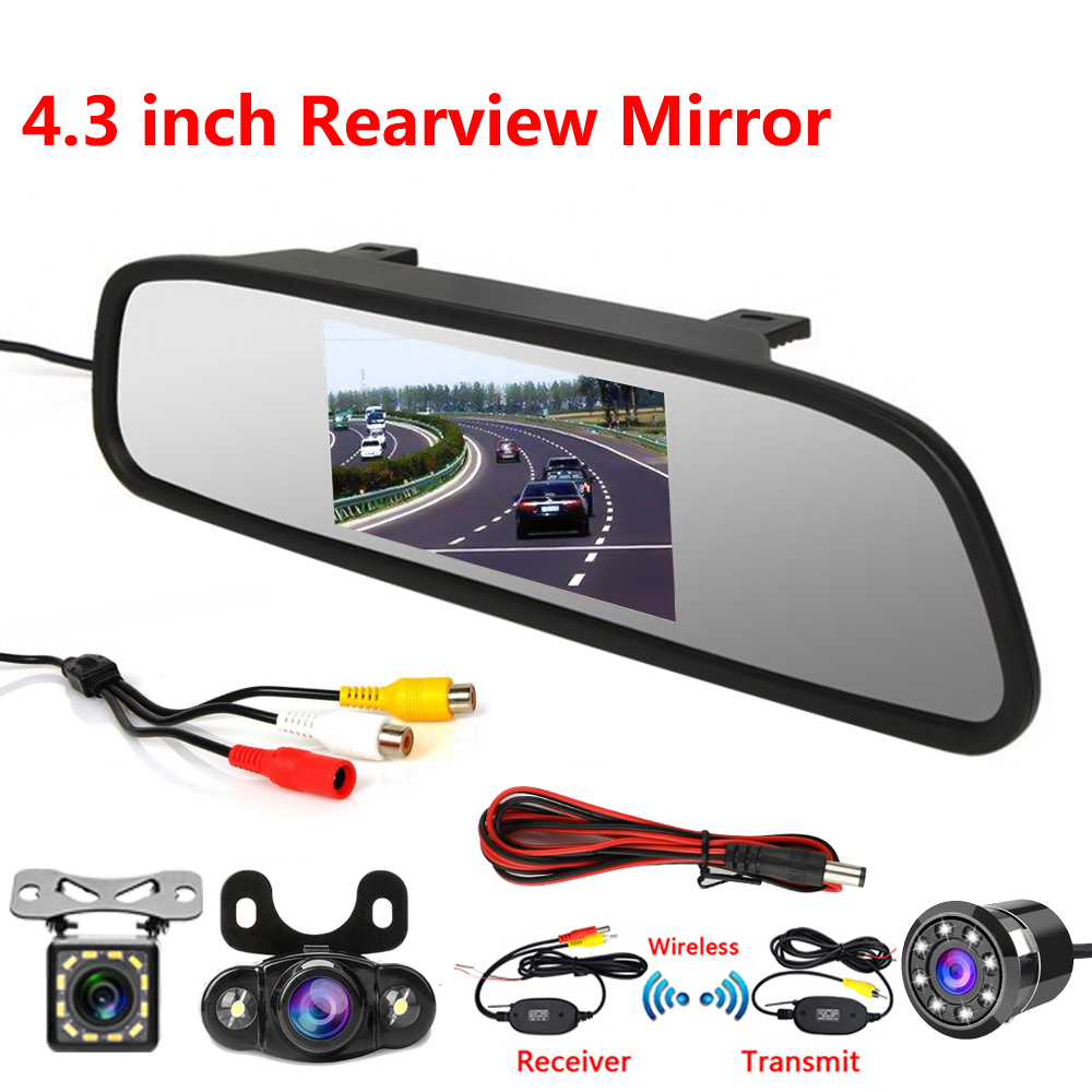4 3 inch 1080P car rearview mirror Car Dvr full HD 1080p car driving video recorder camera car reverse image dual lens dash cam