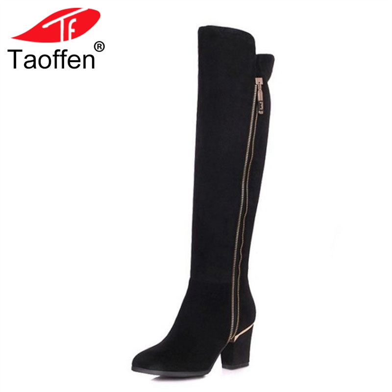 цена TAOFFEN Women Natural Real Leather Knee Boots Winter Boots Sexy Square Heel Pointed Toe Zipper Women Boots Bota Shoes Size 34-39
