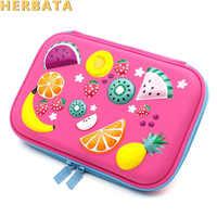 Студенческие милые фруктовые карандаши EVA, чехол с мультипликационным рисунком, на молнии, большая емкость, сумка для ручки, канцелярский ма...