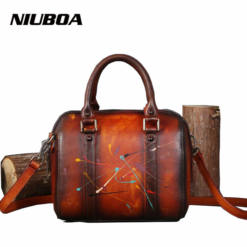 NIUBOA Female 100% Genuine Leather Shoulder Bag For Women Leisure Small Printing Box Handbag Vintage Skin Cowhide Crossbody Bags niuboa bag female women s 100