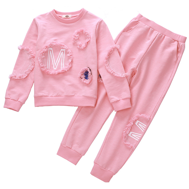Children's Winter Clothes New Brand Fashion Long-sleeves Shirts+Casual Pants 2Pcs Tracksuits Girls O-Neck Pullover Outwears navy hooded design stripe pullover long sleeves tee