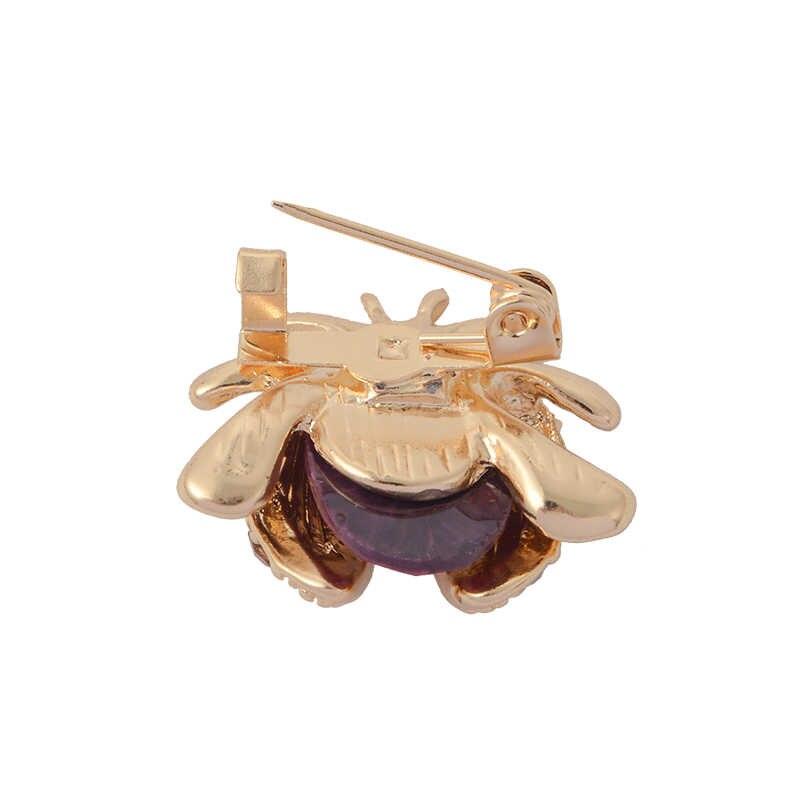 Di cristallo Insetto Coccinella Spilla di Modo del Rhinestone Multicolore Animale Corpetto Risvolto Spille Fibbia Distintivo Per Le Donne I Bambini Dei Monili del Regalo