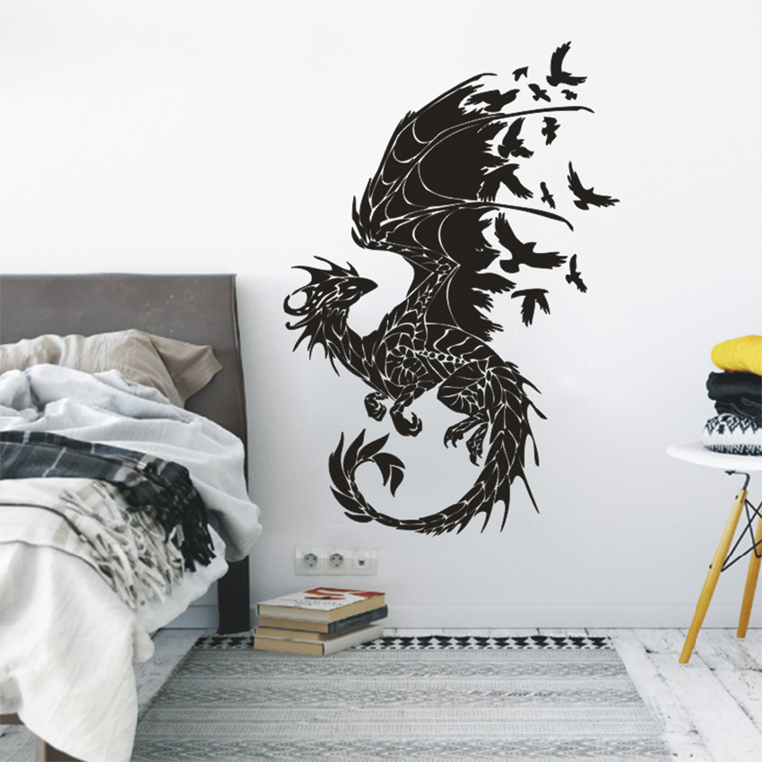 ASAPFOR Dragon Birds Fantasy Fairytale Gothic Wall Decals - Үйдің декоры - фото 3