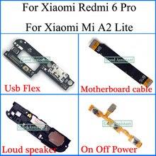 Для Xiao mi Red mi 6 pro/для Xiaomi mi A2 lite Usb гибкий кабель для материнской платы громкий динамик вкл/выкл шлейф питания