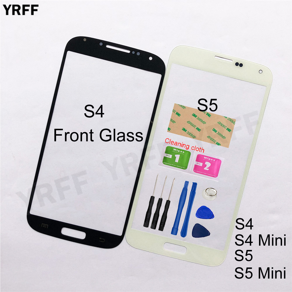 For Samsung Galaxy S4 I9500 S4 Mini I9192 S5 I9600 S5 Mini Front Glass Panel  (No Touch Screen Digitizer Panel ) Outer Glass