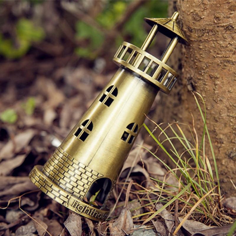 ERMAKOVA Metal Lighthouse Figurine Model Beacon Statue Building Model Home Desktop Decoration Gift