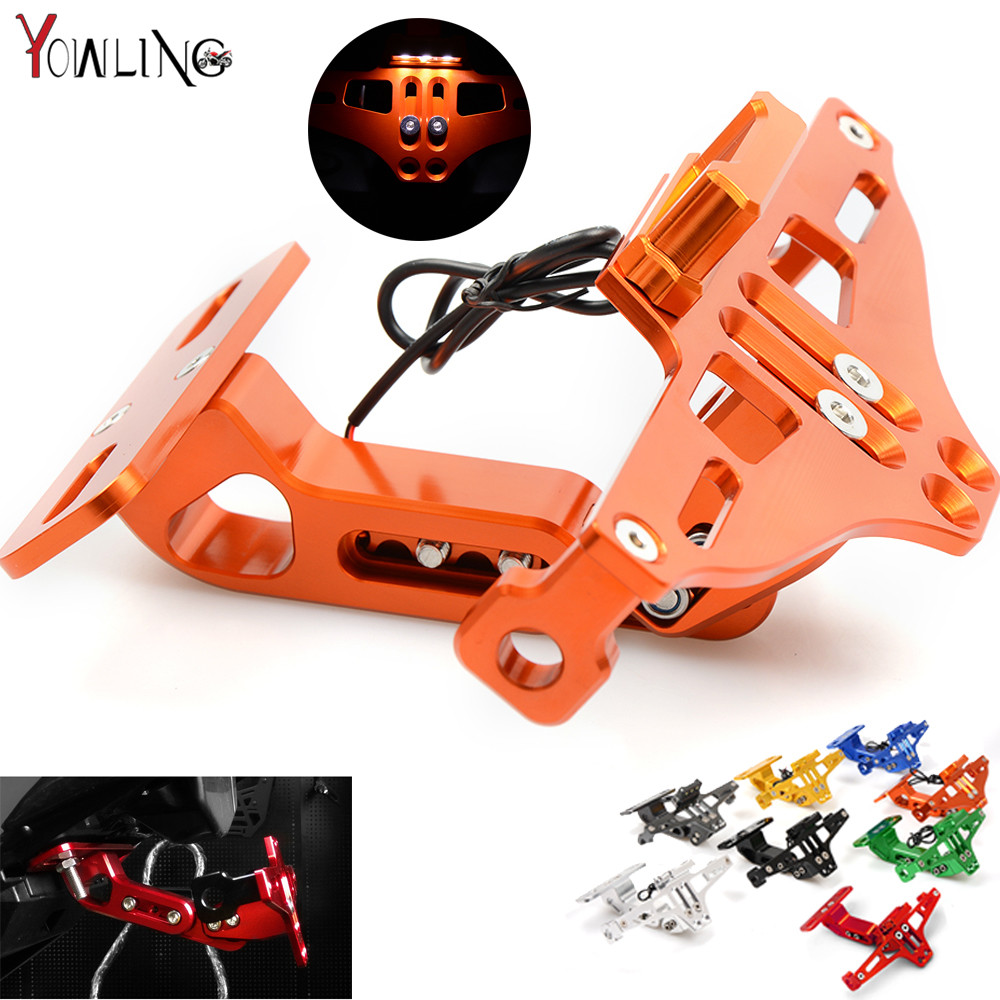 Motorcycle CNC License Plate Bracket Licence Plate Holder Frame Number Plate For KTM 640 LC4 690 SMC 2008 2009 2010 2011 Orange motorcycle tail tidy fender eliminator registration license plate holder bracket led light for ducati panigale 899 free shipping