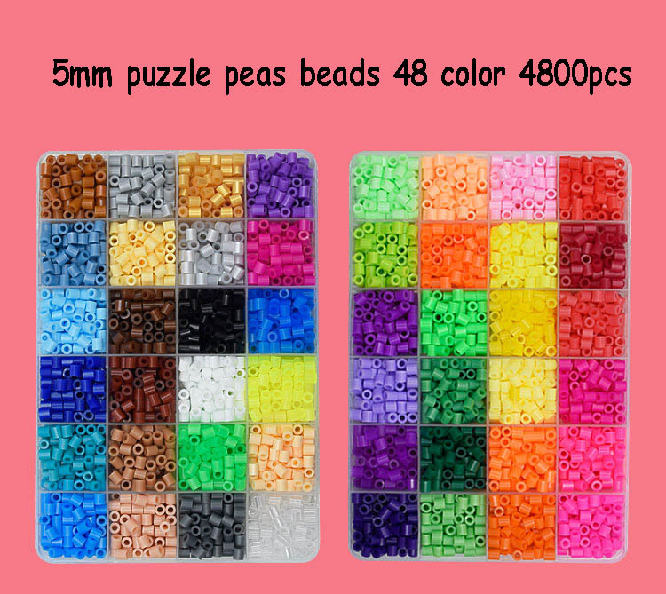 4800 Pcs 5mm Hama Beads 48 Colors Beads Toys EVA Perler Beads Craft Beading Kit Children Kids DIY Art Educational Toys Puzzles