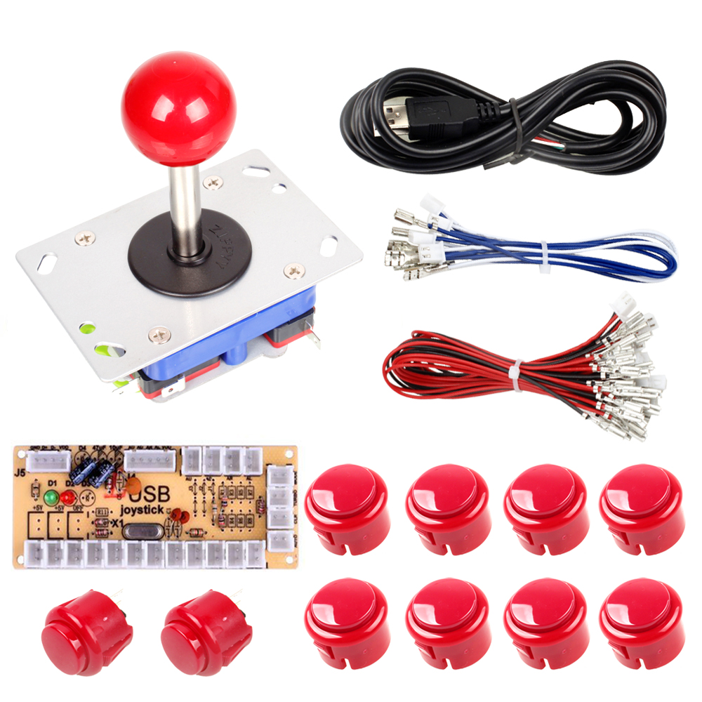 Black Zero Delay USB Encoder + 10 Push buttons + Zippy Long joystick For Arcade Stick DIY Kits Accessorie Mame PC Games Parts