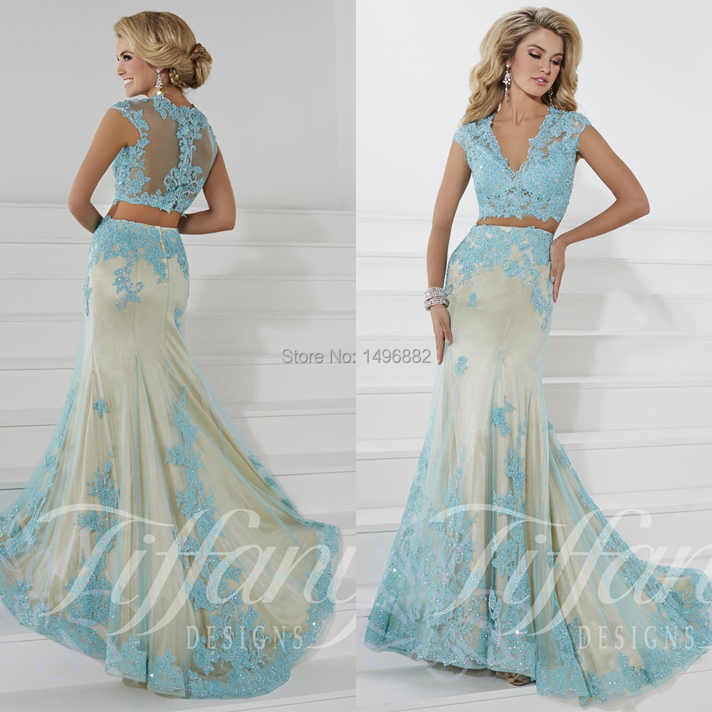 2357cab29f11e Crop Top Modern V Neck Mermaid 2 Piece Prom Dresses 2015 Light Blue Lace  Evening Gown Beads Vestidos De Fiesta Largos-in Prom Dresses from Weddings  & Events ...