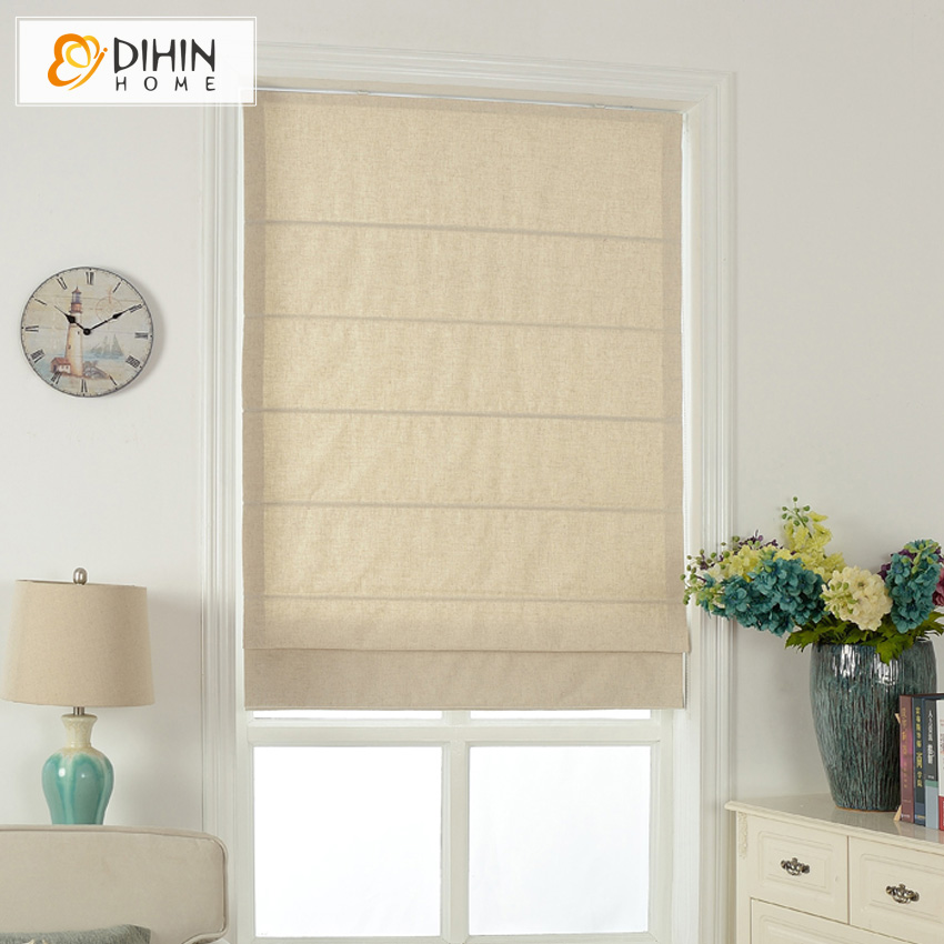 Included Curtains Modern Curtain Pure Beige Cotton/Linen Roman Curtain Blind Home Decor Window Drapes For Living Room-in Curtains from Home & Garden    1
