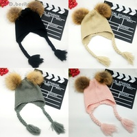 New Baby Boys Girls Winter Hat Knitted Beanie Hat 13CM Real Fur Pompoms With Braid Warm
