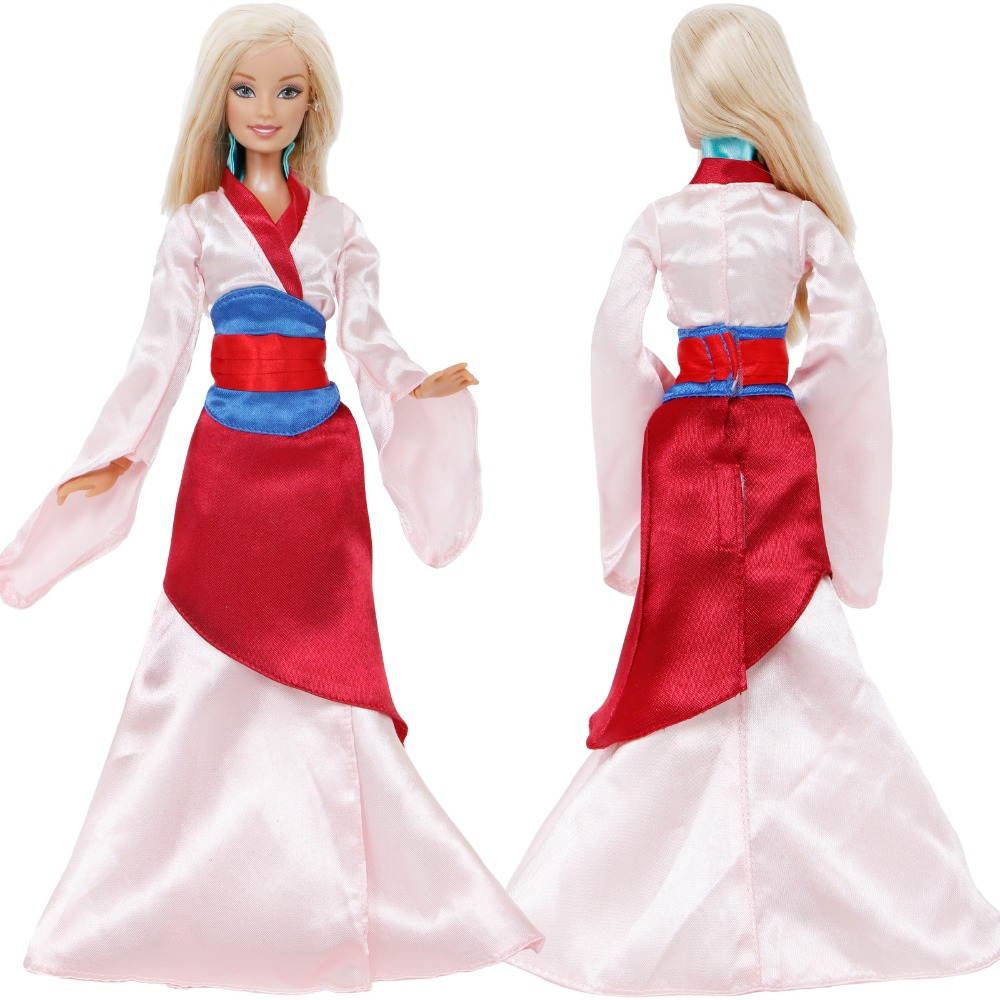 High Quality Fairy Tale Dress Copy Mulan Princess Party Wear Long Gown Clothes For Barbie Doll 12'' Accessories Dollhouse