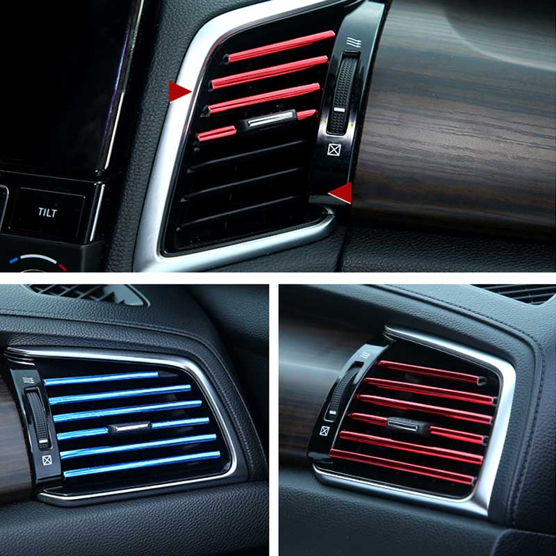 10PCS Car Air Conditioning Outlet Decorative Strip Clips Modified Interior Accessories Strip U-Type Plating Chrome