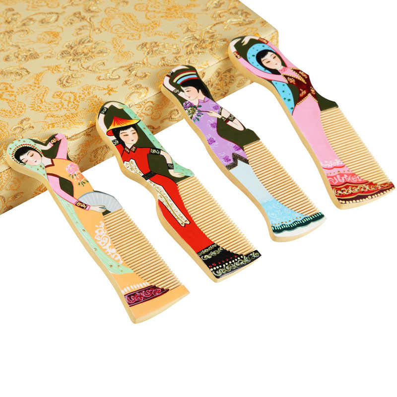 ONEICE Changzhou Chinese Hair Comb Ornaments Crafts Creative Minority Ethnic Girl Painted Wooden Combs Minority Crafts Decoratio